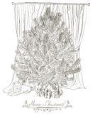 Cartão de Natal do vintage com árvore de Natal. Ilustração Stock