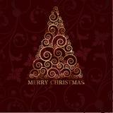 Cartão de Natal do vintage com árvore do feriado ilustração stock
