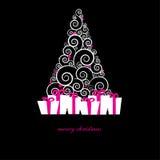 Cartão de Natal do vintage com árvore do feriado ilustração royalty free