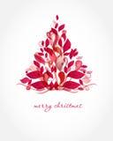 Cartão de Natal do vintage com a árvore do feriado no fl ilustração royalty free