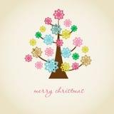 Cartão de Natal do vintage com a árvore do feriado no fl Imagem de Stock