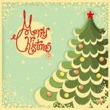 Cartão de Natal do vintage com árvore e texto Imagens de Stock Royalty Free