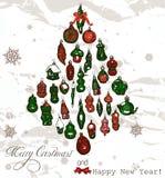 Cartão de Natal do vintage com flocos de neve. Ilustração Royalty Free