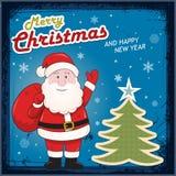 Cartão de Natal do vintage com Santa Claus Fotos de Stock Royalty Free