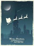 Cartão de Natal do vintage Papai Noel com sua rena Fotos de Stock Royalty Free