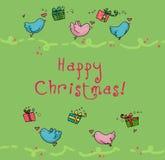 Cartão de Natal dos pássaros de vôo Fotografia de Stock Royalty Free
