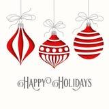 Cartão de Natal elegante com esferas ilustração do vetor