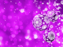 Cartão de Natal elegante com esferas. EPS 8 Fotografia de Stock Royalty Free