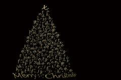 Cartão de Natal elegante, letras do ouro do abeto Fotos de Stock Royalty Free
