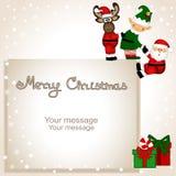 Cartão de Natal Cartão engraçado com duende do Natal, rei do Natal ilustração stock