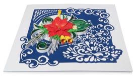Cartão de Natal feito a mão com cumprimentos e poins do Feliz Natal Imagens de Stock Royalty Free