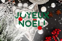"""Cartão de Natal francês, noà """"l do joyeux, França ilustração stock"""