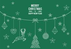 Cartão de Natal geométrico, elementos do projeto do vetor fotografia de stock royalty free