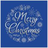 Cartão de Natal Ilustração desenhada mão do vetor Fotos de Stock Royalty Free