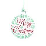 Cartão de Natal Ilustração desenhada mão do vetor Foto de Stock Royalty Free