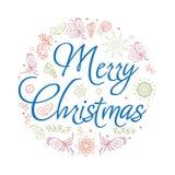 Cartão de Natal Ilustração desenhada mão do vetor Fotografia de Stock