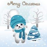 Cartão de Natal Ilustração do Natal com coelho bunny foto de stock royalty free