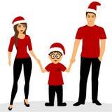 Cartão de Natal Ilustração do Natal com família Obj isolado imagens de stock
