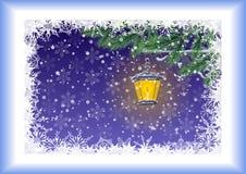Cartão de Natal, lâmpada, ramos e flocos de neve Fotos de Stock Royalty Free