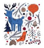 Cartão de Natal no estilo rústico escandinavo Fotos de Stock Royalty Free