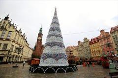 Cartão de Natal poland wroclaw Árvore de Natal bonita imagens de stock royalty free