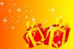Cartão de Natal - presente Fotografia de Stock Royalty Free