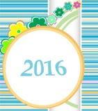 Cartão 2016 de Natal quadro com as flores ajustadas Ornamento do feriado Fotos de Stock Royalty Free