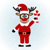 Cartão de Natal Rena do Natal com bastão de doces imagem de stock royalty free