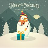 Cartão de Natal retro bonito com boneco de neve ilustração do vetor