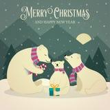 Cartão de Natal retro bonito com a família dos ursos polares ilustração stock