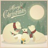 Cartão de Natal retro bonito com a família dos ursos polares ilustração royalty free