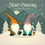 Cartão de Natal retro bonito com gnomos ilustração royalty free