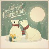Cartão de Natal retro bonito com pares dos ursos polares ilustração royalty free