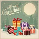 Cartão de Natal retro bonito com presentes ilustração do vetor