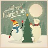 Cartão de Natal retro bonito com urso polar, boneco de neve e árvore de Natal ilustração stock