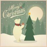 Cartão de Natal retro bonito com urso polar e tre do Natal ilustração do vetor