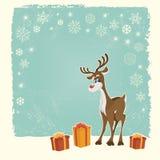Cartão de Natal retro com rena Fotos de Stock