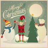 Cartão de Natal retro com urso polar, duende e boneco de neve que decoram ilustração stock
