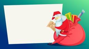Cartão de Natal Santa Claus, com um saco enorme dos presentes, lê a letra ilustração stock