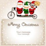 Cartão de Natal Santa Claus, duende e rena do Natal em um bic ilustração do vetor