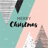Cartão de Natal Teste padrão escandinavo geométrico abstrato do estilo com árvores e triângulos ilustração stock