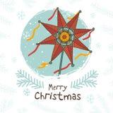 Cartão de Natal ucraniano feliz Imagens de Stock