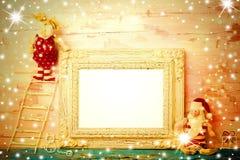 Cartão de Natal vazio alegre do quadro da foto fotos de stock