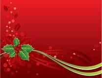 Cartão de Natal vermelho com bagas do azevinho Fotografia de Stock