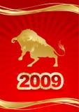 Cartão de Natal vermelho com touro do ouro Fotografia de Stock