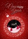 Cartão de Natal vermelho vertical Bola do White Christmas feita dos flocos de neve ilustração do vetor