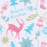 Cartão de Noel com cervos e decorações do Natal. Imagens de Stock