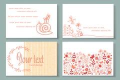 Cartão de nome com flores ilustração royalty free