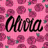 Cartão de Olivia Name com as rosas cor-de-rosa bonitas Ilustração do vetor ilustração do vetor