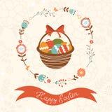 Cartão de Páscoa bonito com cesta Foto de Stock Royalty Free